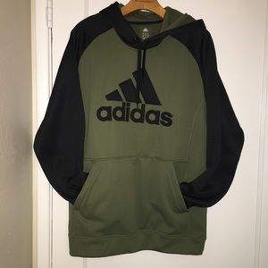 Large Olive Green and black Adidas Hoodie